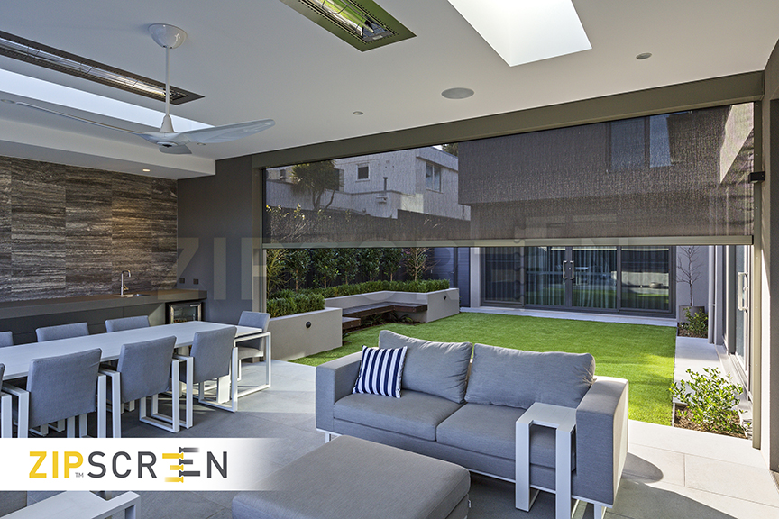 Stylish outdoor alfresco living area with zip screen outdoor blind
