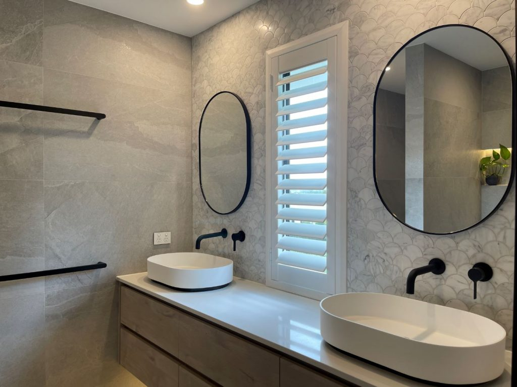 Bathroom Shutters Gold Coast. White framed and hinged
