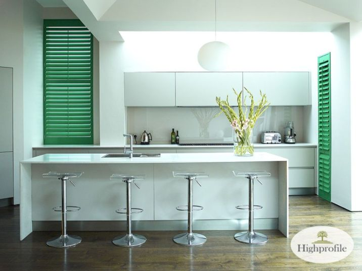 green painted shutters in kitchen area on the Gold Coast to make a modern finish to home decor